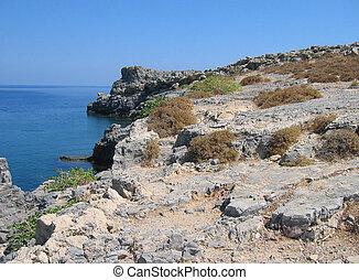 fantastyczny, wyspa, grecja, -, rhodes, plaże