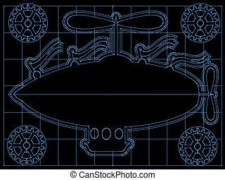 Fantasy Airship Blueprint Gears, Fl - Retro blimp style ship...