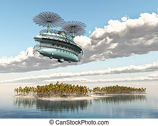 Fantasy airship - Computer generated 3D illustration with a...
