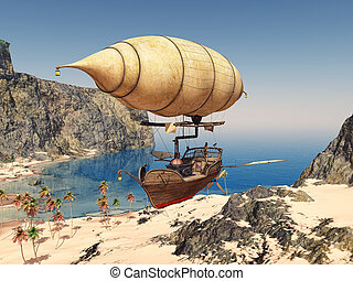 Fantasy airship over a coastal landscape - Computer...