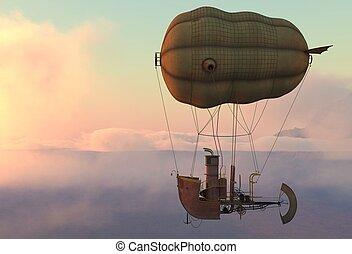 Airship zeppelin dirigible aircraft flight 3d sky