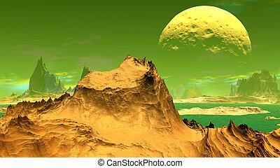 Fantasy alien planet. Rocks and lake. 3D illustration - ...