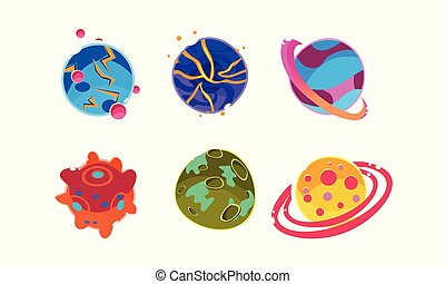 Fantasy alien planets of different colors set, cosmic elements for game design vector Illustration on a white background