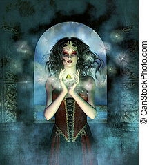 Fantasy image with elements of magic featuring a woman with dark hair.