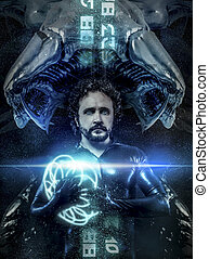 fantasy and science fiction, black latex man with blue neon...