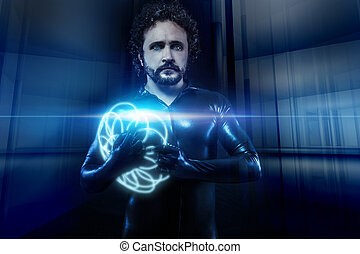 fantasy and science fiction, black latex man with blue neon spheres
