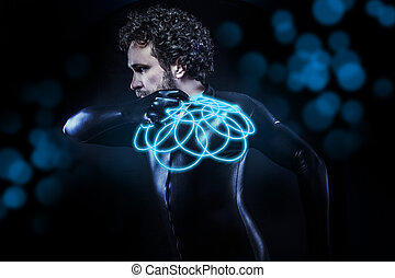 fantasy and science fiction, black latex man with blue neon disk
