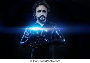 fantasy and science fiction, futuristic soldier dressed in black latex with blue neon spheres