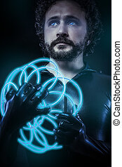 fantasy and science fiction, futuristic soldier dressed in black latex with blue neon gun, blue eyes