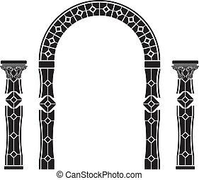 fantasy arch and columns. stencil