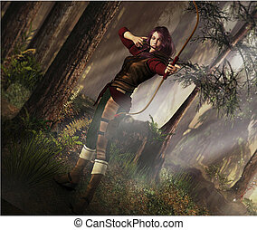 Fantasy Archer - Fantasy scene of female archer taking aim...