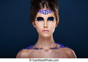 fantasy., artistique, femme, à, fantaisie, créatif, make-up., charme