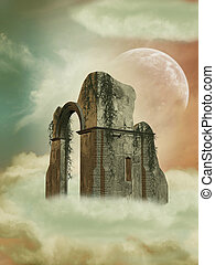 Fantasy Backgound in the heaven with big structure
