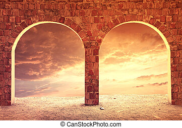 Fantasy dreamy background. Pillars against evening cloudy sky.