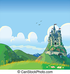 fantasy background with castle - Vector cartoon illustration...