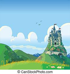 fantasy background with castle - Vector cartoon illustration...