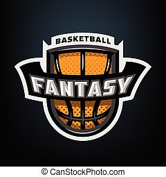 Fantasy basketball, sports logo emblem.