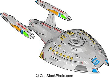 Fantasy battle cruiser vector illustration on white background