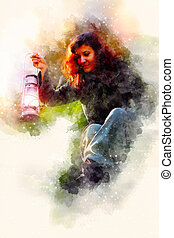 Fantasy beautiful woman with light lamps and softly blurred watercolor background.