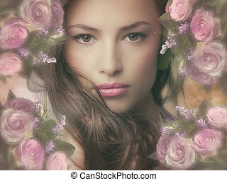 beautiful fantasy woman with frame of flowers