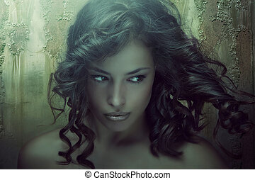 fantasy beauty portrait of a young dark skin woman in...