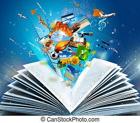 Fantasy book - Reading a glowing fantasy book