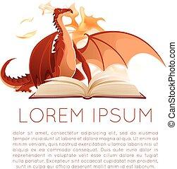 Fantasy book with dragon