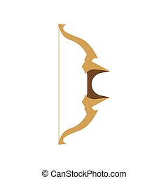 Fantasy bow vector cartoon rpg set illustration. Game icon arrow medieval weapon design isolated elf background