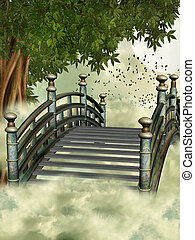 fantasy bridge in the sky with tree