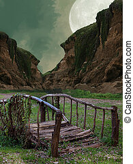 Fantasy bridge with mountain and big moon