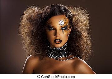 fantasy., bronzo, faccia, di, bella donna, con, argento, orologio, e, keys., arte