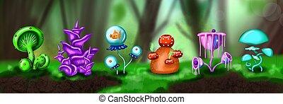 Fantasy cartoon daytime forest with mushrooms landscape. illustration of magic mushrooms