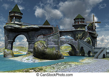 Fantasy castle - 3D rendered fantasy beautiful ancient...