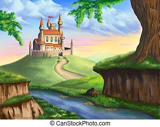 A fantasy castle in a gorgeous landscape. Original digital illustration.