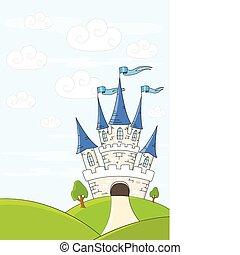 Fantasy castle on green hills