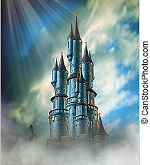 Fantasy floating castle in clouds and blue sky with small dragon.
