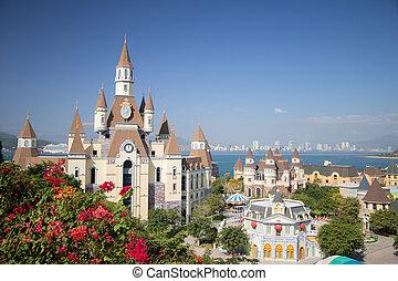 Fantasy castle in Vinperl Vietnam on the sky