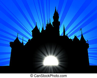 fantasy castle on a light ray background