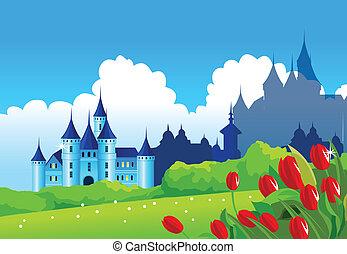 Fantasy castle on green landscape