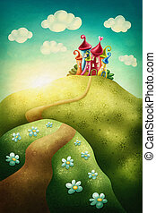Fantasy castle in the meadow