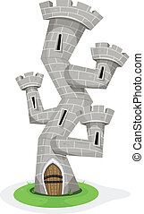 Fantasy Castle Tower - Illustration of a funny cartoon...