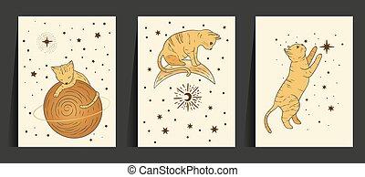 Fantasy cat celestial astrology nursery art. Boho esoteric card set. Golden art moon and star magic vector collection.