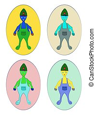 Fantasy Character vector Illustration set