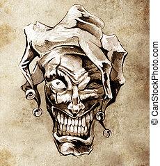 Fantasy clown joker. Sketch of tattoo art over dirty...