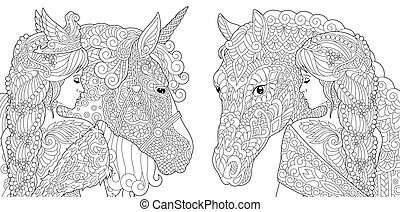 Colouring pictures with fantasy girls with unicorn and horse. Freehand sketch drawing with doodle and zentangle elements.