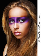 Fantasy. Coloring. Trendy Woman with Shiny Colorful Makeup. Faceart