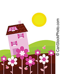 Fantasy country with house and spring flowers