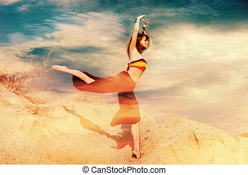 fantasy dance - dancing woman in sand, photo compilation ...