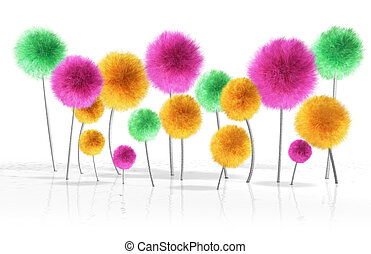 A small crop of fantasy dandelion like trees in bright colors growing out bumpy reflective white soil