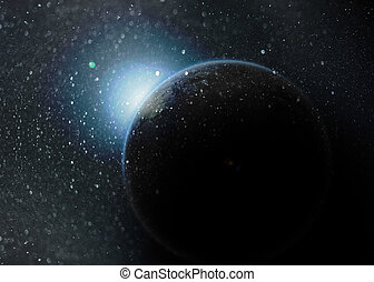 Fantasy deep space nebula with planet and stars